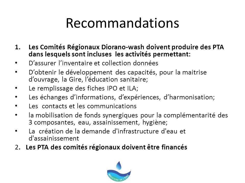 Recommandations 1.Les Comités Régionaux Diorano-wash doivent produire des PTA dans lesquels sont incluses les activités permettant: Dassurer linventaire et collection données Dobtenir le développement des capacités, pour la maitrise douvrage, la Gire, léducation sanitaire; Le remplissage des fiches IPO et ILA; Les échanges dinformations, dexpériences, dharmonisation; Les contacts et les communications la mobilisation de fonds synergiques pour la complémentarité des 3 composantes, eau, assainissement, hygiène; La création de la demande d infrastructure d eau et d assainissement 2.