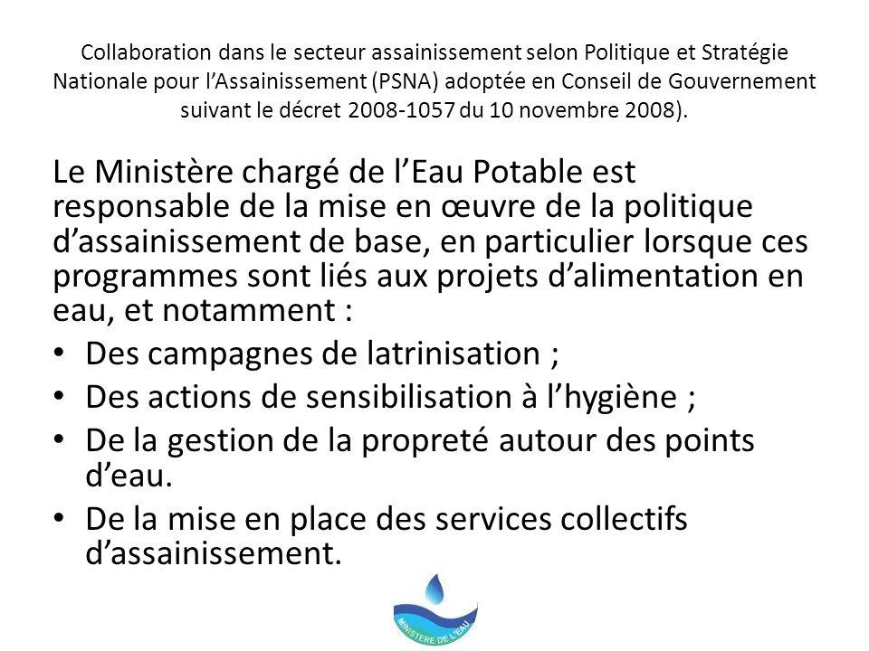 Collaboration dans le secteur assainissement selon Politique et Stratégie Nationale pour lAssainissement (PSNA) adoptée en Conseil de Gouvernement suivant le décret 2008-1057 du 10 novembre 2008).