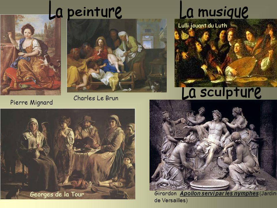 Pierre Mignard Charles Le Brun Georges de la Tour Girardon Apollon servi par les nymphes (Jardins de Versailles) Lulli jouant du Luth