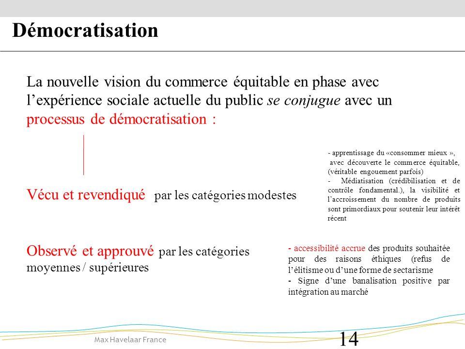 Max Havelaar France 14 Vécu et revendiqué par les catégories modestes Observé et approuvé par les catégories moyennes / supérieures Démocratisation La nouvelle vision du commerce équitable en phase avec lexpérience sociale actuelle du public se conjugue avec un processus de démocratisation : - apprentissage du «consommer mieux », avec découverte le commerce équitable, (véritable engouement parfois) - Médiatisation (crédibilisation et de contrôle fondamental.), la visibilité et laccroissement du nombre de produits sont primordiaux pour soutenir leur intérêt récent - accessibilité accrue des produits souhaitée pour des raisons éthiques (refus de lélitisme ou dune forme de sectarisme - Signe dune banalisation positive par intégration au marché