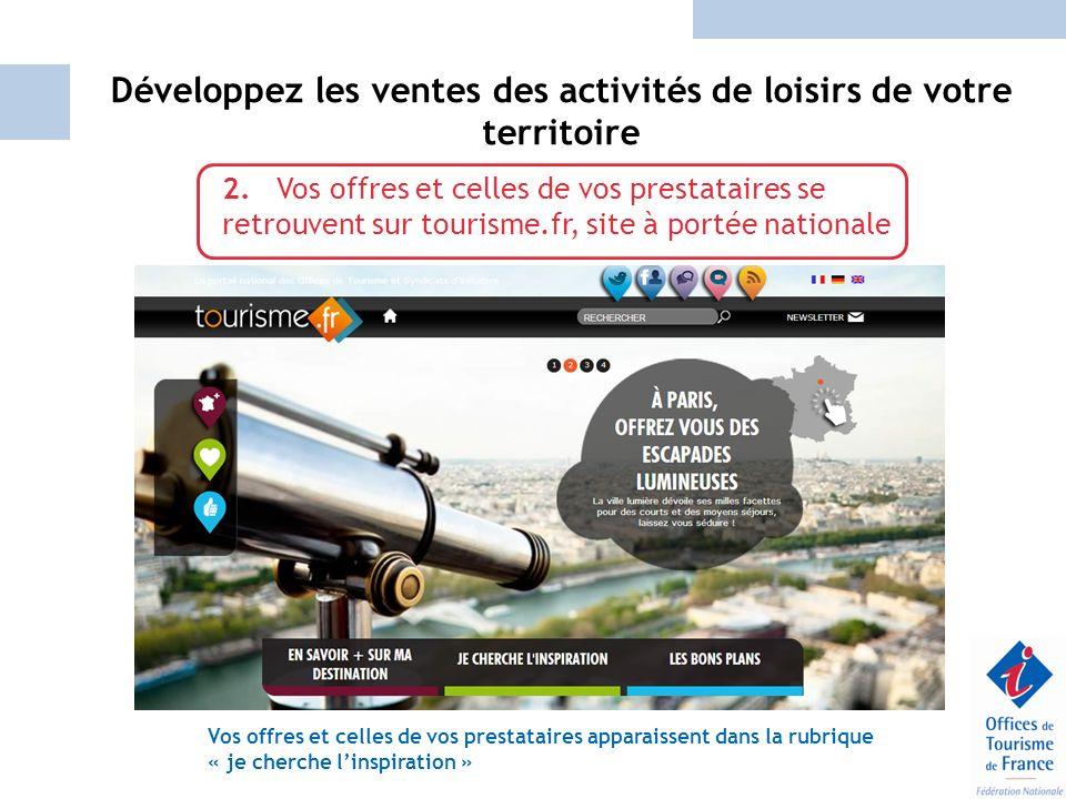 Développez les ventes des activités de loisirs de votre territoire 2. Vos offres et celles de vos prestataires se retrouvent sur tourisme.fr, site à p