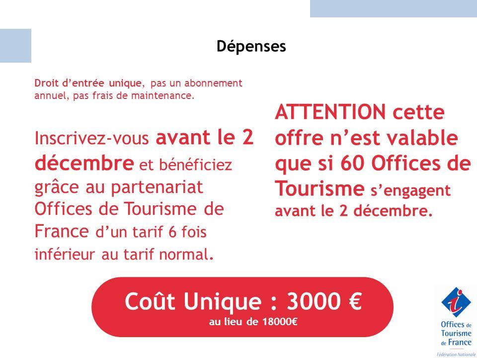 Dépenses Droit dentrée unique, pas un abonnement annuel, pas frais de maintenance. Inscrivez-vous avant le 2 décembre et bénéficiez grâce au partenari