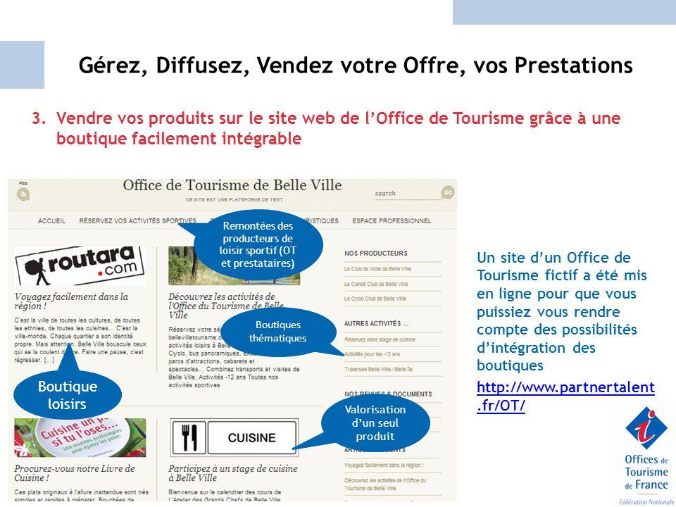 Gérez, Diffusez, Vendez votre Offre, vos Prestations 3.Vendre vos produits sur le site web de lOffice de Tourisme grâce à une boutique facilement inté