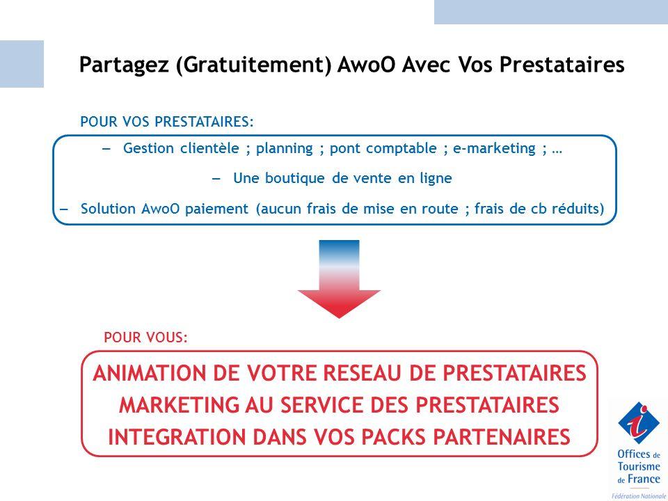 Partagez (Gratuitement) AwoO Avec Vos Prestataires – Gestion clientèle ; planning ; pont comptable ; e-marketing ; … – Une boutique de vente en ligne