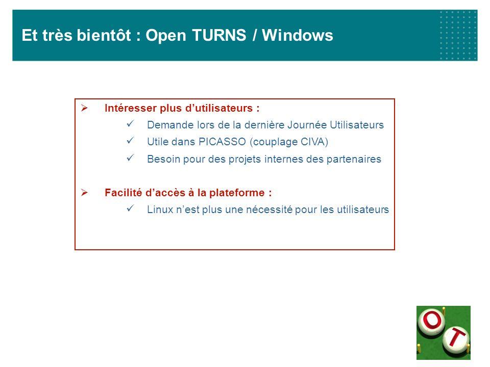 Et très bientôt : Open TURNS / Windows Intéresser plus dutilisateurs : Demande lors de la dernière Journée Utilisateurs Utile dans PICASSO (couplage C