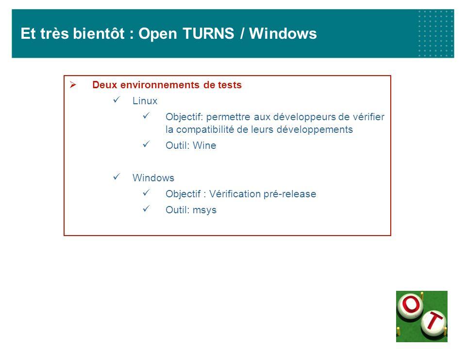 Et très bientôt : Open TURNS / Windows Deux environnements de tests Linux Objectif: permettre aux développeurs de vérifier la compatibilité de leurs d