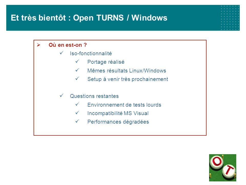 Et très bientôt : Open TURNS / Windows Où en est-on ? Iso-fonctionnalité Portage réalisé Mêmes résultats Linux/Windows Setup à venir très prochainemen