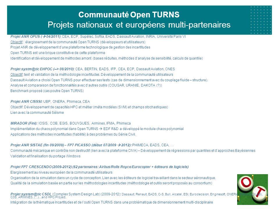 Communauté Open TURNS Projets nationaux et européens multi-partenaires Projet ANR OPUS ( 04/2011): CEA, ECP, Supélec, Softia, EADS, Dassault Aviation,