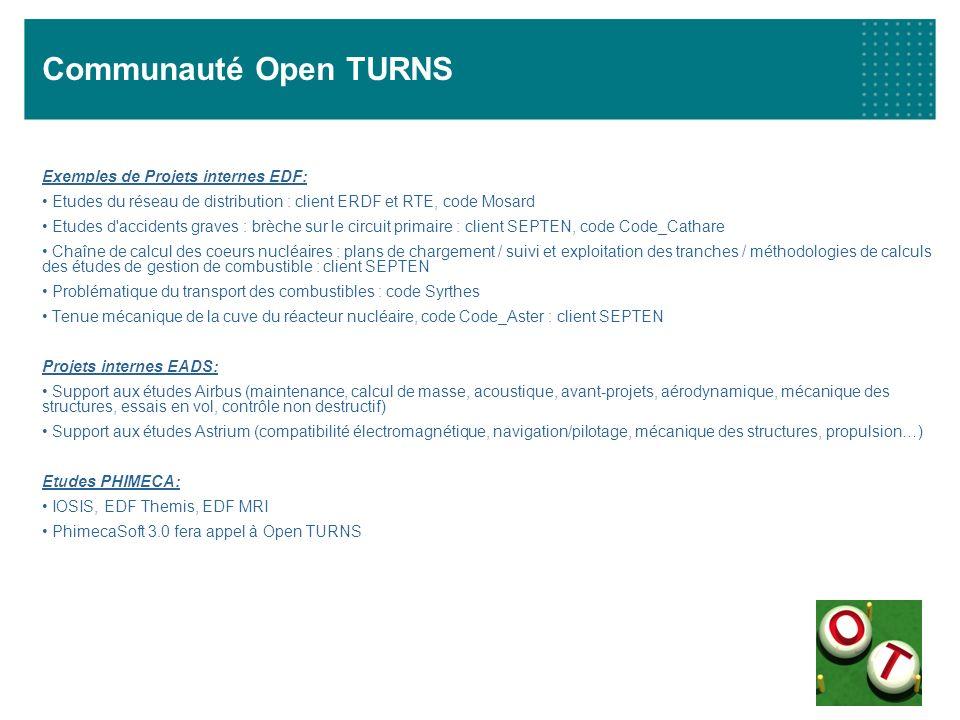 Communauté Open TURNS Exemples de Projets internes EDF: Etudes du réseau de distribution : client ERDF et RTE, code Mosard Etudes d'accidents graves :