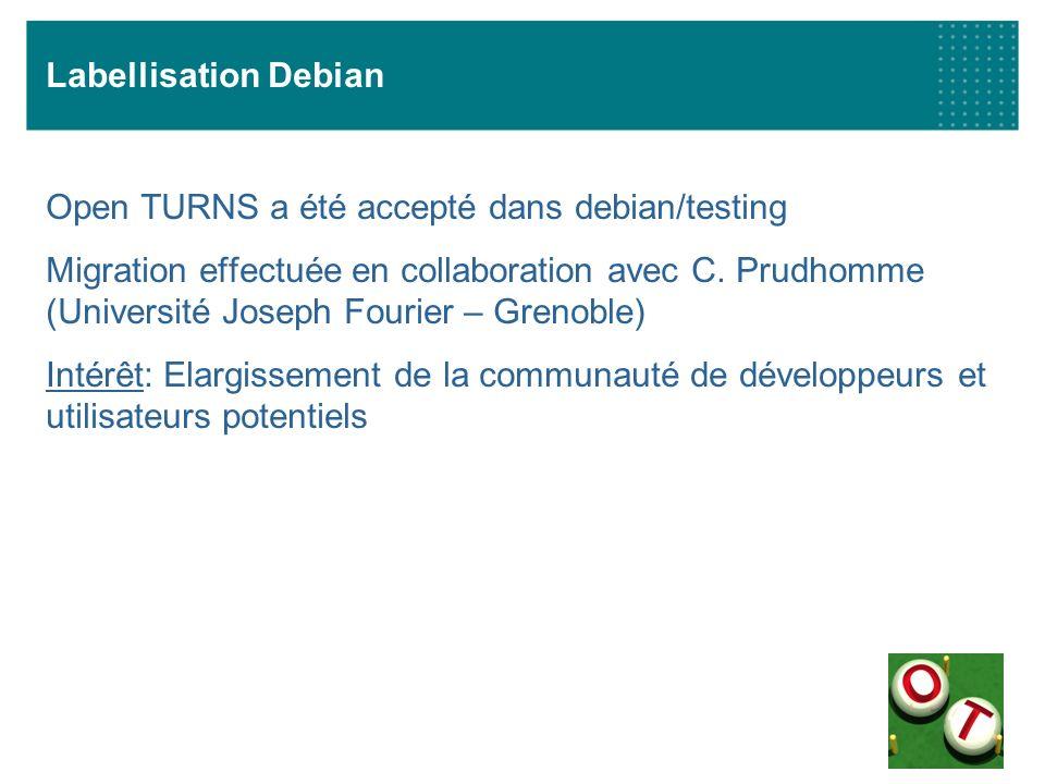 Labellisation Debian Open TURNS a été accepté dans debian/testing Migration effectuée en collaboration avec C. Prudhomme (Université Joseph Fourier –