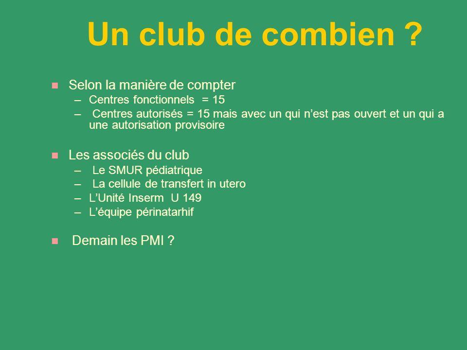 Un club de combien ? Selon la manière de compter –Centres fonctionnels = 15 – Centres autorisés = 15 mais avec un qui nest pas ouvert et un qui a une