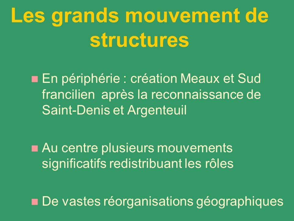 Les grands mouvement de structures En périphérie : création Meaux et Sud francilien après la reconnaissance de Saint-Denis et Argenteuil Au centre plu