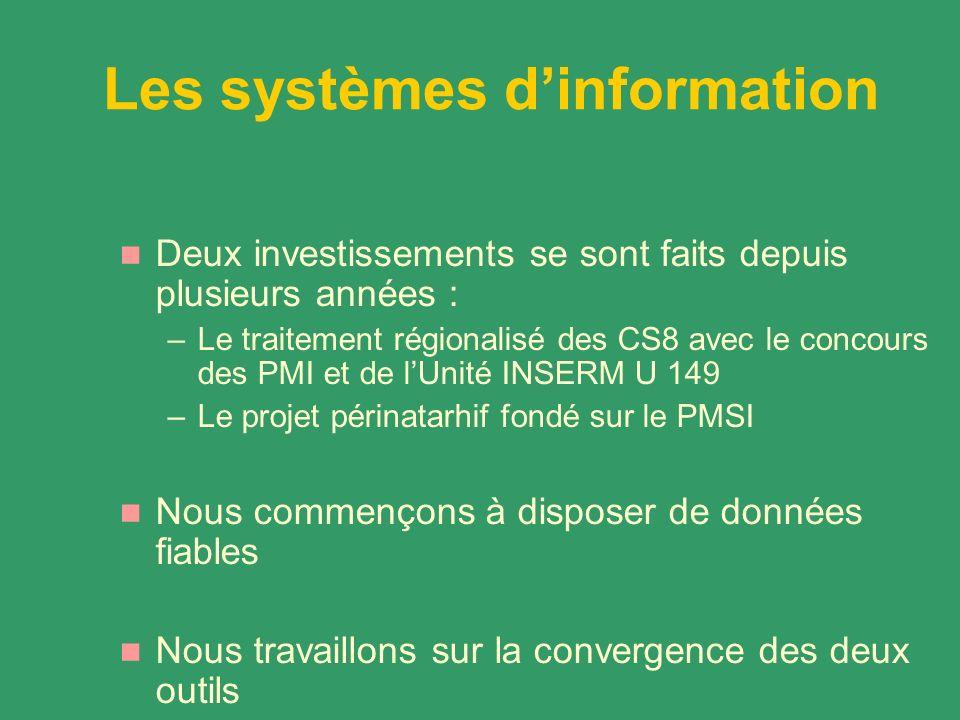 Les systèmes dinformation Deux investissements se sont faits depuis plusieurs années : –Le traitement régionalisé des CS8 avec le concours des PMI et