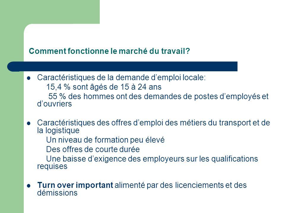 Comment fonctionne le marché du travail? Caractéristiques de la demande demploi locale: 15,4 % sont âgés de 15 à 24 ans 55 % des hommes ont des demand