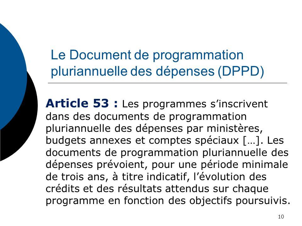 Le Document de programmation pluriannuelle des dépenses (DPPD) Article 53 : Les programmes sinscrivent dans des documents de programmation pluriannuel