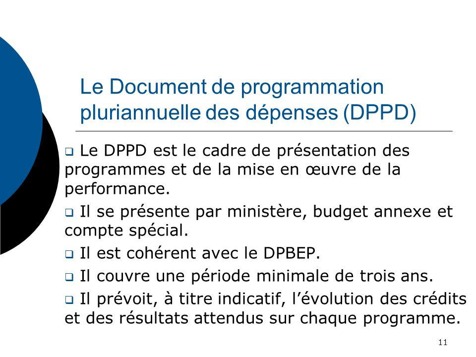 Le Document de programmation pluriannuelle des dépenses (DPPD) Le DPPD est le cadre de présentation des programmes et de la mise en œuvre de la perfor