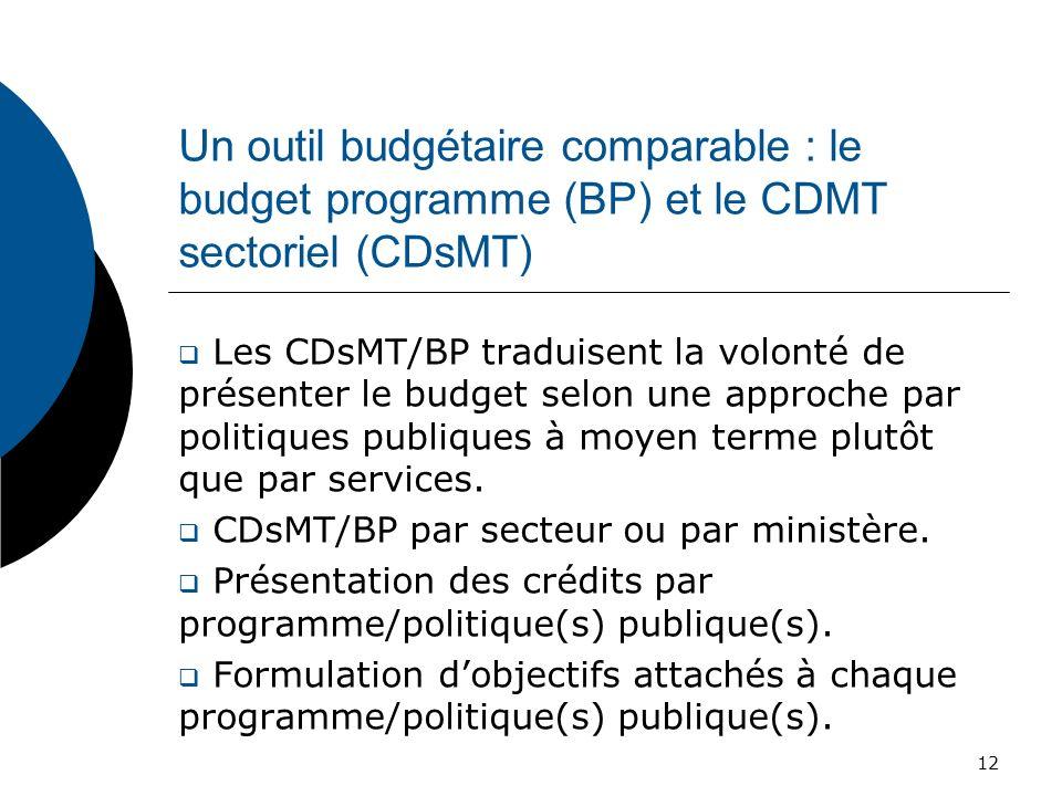 Un outil budgétaire comparable : le budget programme (BP) et le CDMT sectoriel (CDsMT) Les CDsMT/BP traduisent la volonté de présenter le budget selon
