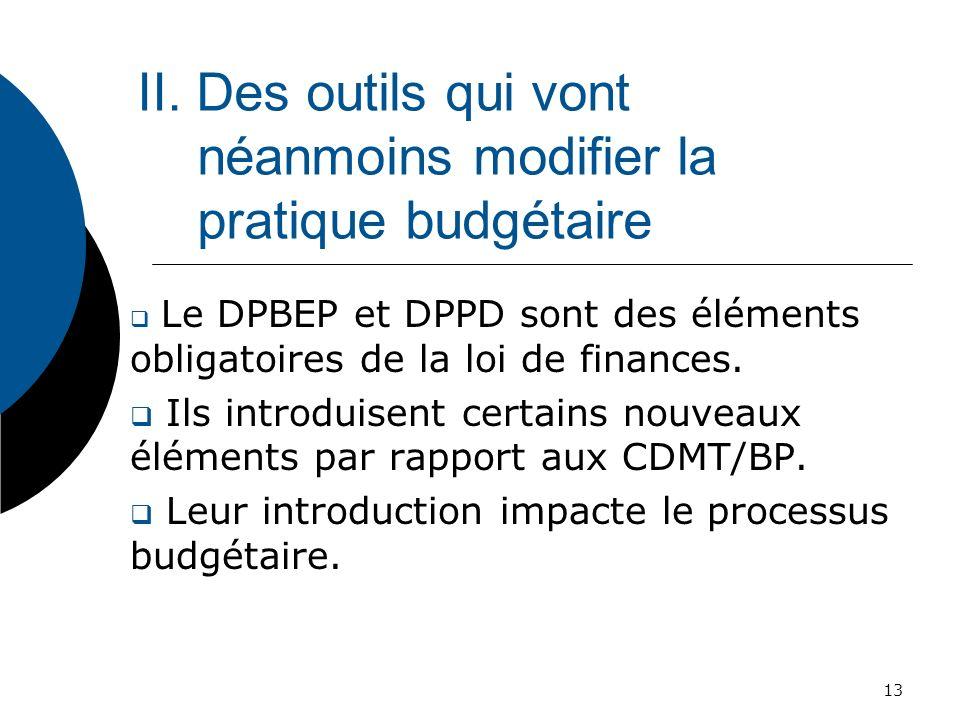 II. Des outils qui vont néanmoins modifier la pratique budgétaire Le DPBEP et DPPD sont des éléments obligatoires de la loi de finances. Ils introduis