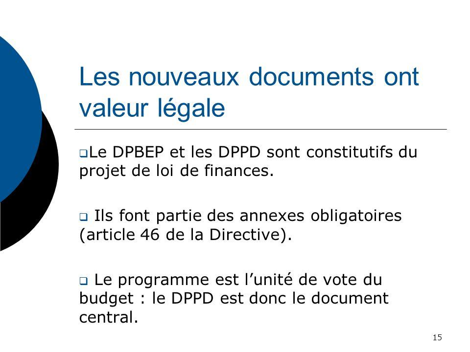Les nouveaux documents ont valeur légale Le DPBEP et les DPPD sont constitutifs du projet de loi de finances. Ils font partie des annexes obligatoires