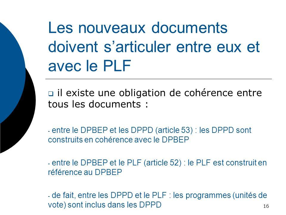 Les nouveaux documents doivent sarticuler entre eux et avec le PLF il existe une obligation de cohérence entre tous les documents : - entre le DPBEP e