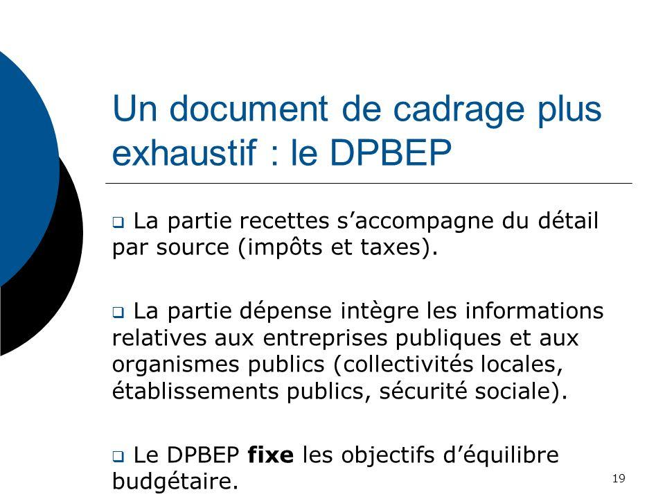 Un document de cadrage plus exhaustif : le DPBEP La partie recettes saccompagne du détail par source (impôts et taxes). La partie dépense intègre les