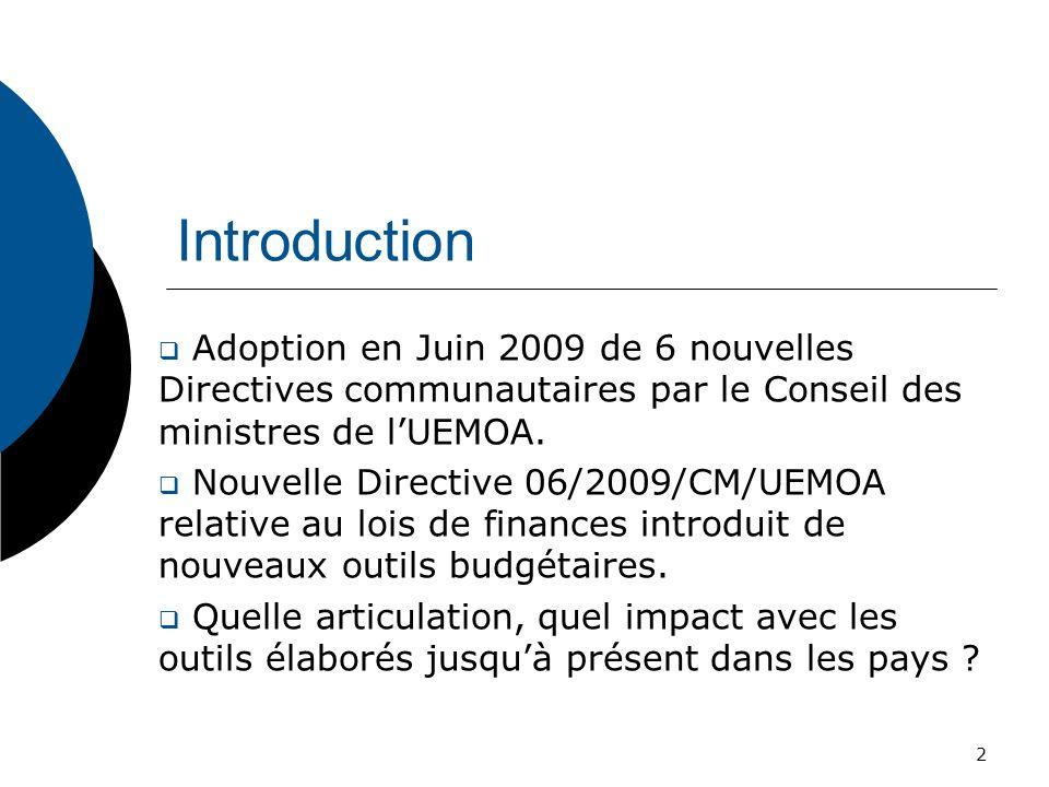 Introduction Adoption en Juin 2009 de 6 nouvelles Directives communautaires par le Conseil des ministres de lUEMOA. Nouvelle Directive 06/2009/CM/UEMO