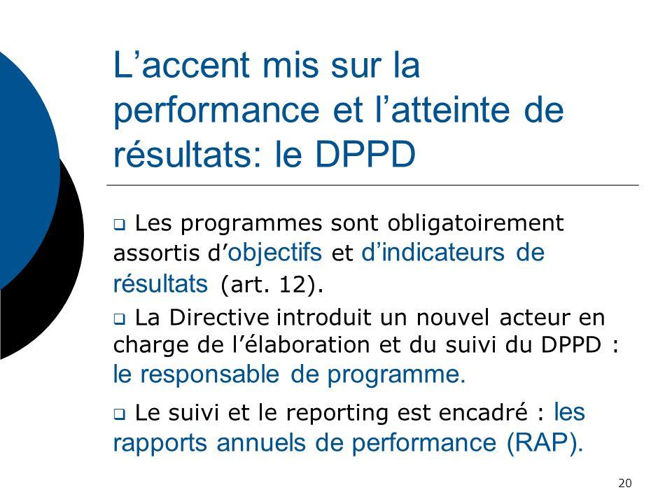 Laccent mis sur la performance et latteinte de résultats: le DPPD Les programmes sont obligatoirement assortis d objectifs et dindicateurs de résultat