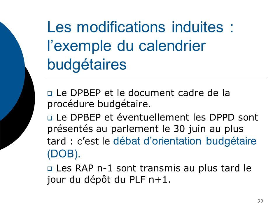 Les modifications induites : lexemple du calendrier budgétaires Le DPBEP et le document cadre de la procédure budgétaire. Le DPBEP et éventuellement l