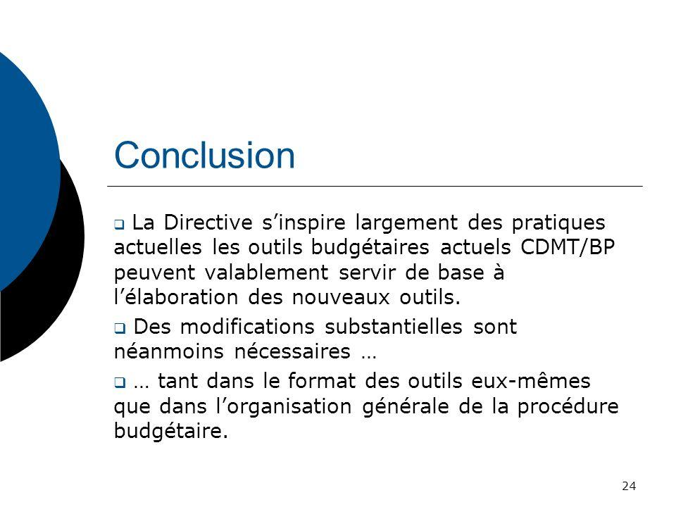 Conclusion La Directive sinspire largement des pratiques actuelles les outils budgétaires actuels CDMT/BP peuvent valablement servir de base à lélabor