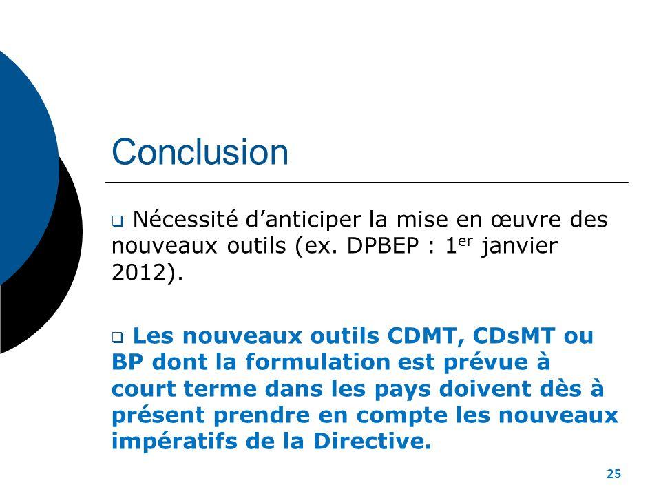 Conclusion Nécessité danticiper la mise en œuvre des nouveaux outils (ex. DPBEP : 1 er janvier 2012). Les nouveaux outils CDMT, CDsMT ou BP dont la fo