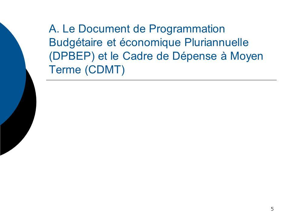 Le Document de programmation budgétaire et économique pluriannuelle (DPBEP) Article 52 : Le projet de loi de finances de lannée est élaboré par référence à un document de programmation budgétaire et économique pluriannuelle couvrant une période minimale de trois ans.