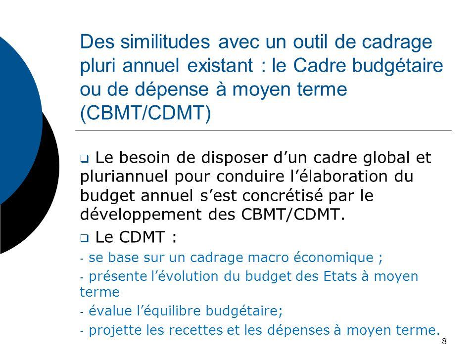 Des similitudes avec un outil de cadrage pluri annuel existant : le Cadre budgétaire ou de dépense à moyen terme (CBMT/CDMT) Le besoin de disposer dun
