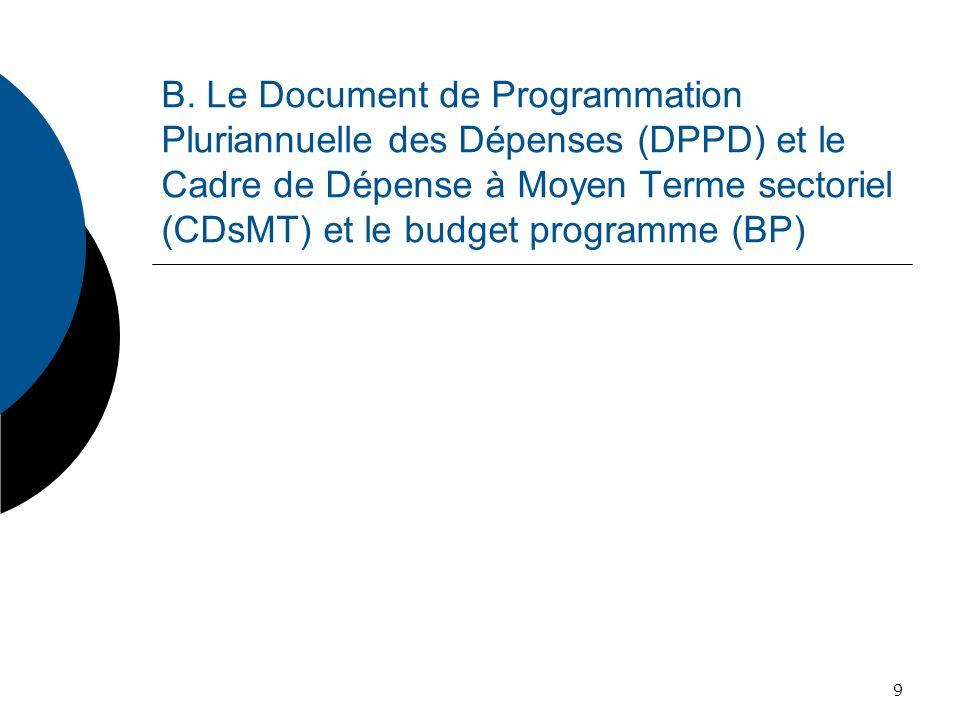 Le Document de programmation pluriannuelle des dépenses (DPPD) Article 53 : Les programmes sinscrivent dans des documents de programmation pluriannuelle des dépenses par ministères, budgets annexes et comptes spéciaux […].