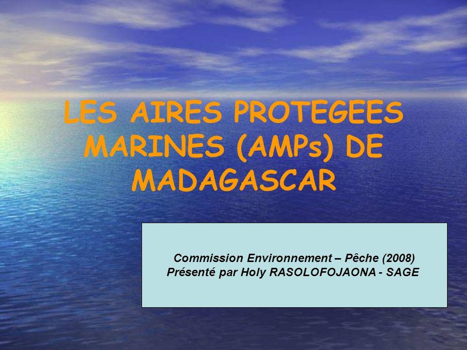 LES AIRES PROTEGEES MARINES (AMPs) DE MADAGASCAR Commission Environnement – Pêche (2008) Présenté par Holy RASOLOFOJAONA - SAGE