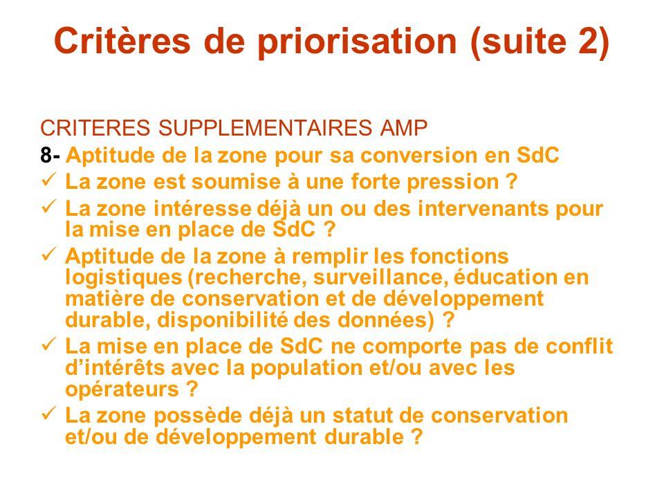 Critères de priorisation (suite 2) CRITERES SUPPLEMENTAIRES AMP 8- Aptitude de la zone pour sa conversion en SdC La zone est soumise à une forte press