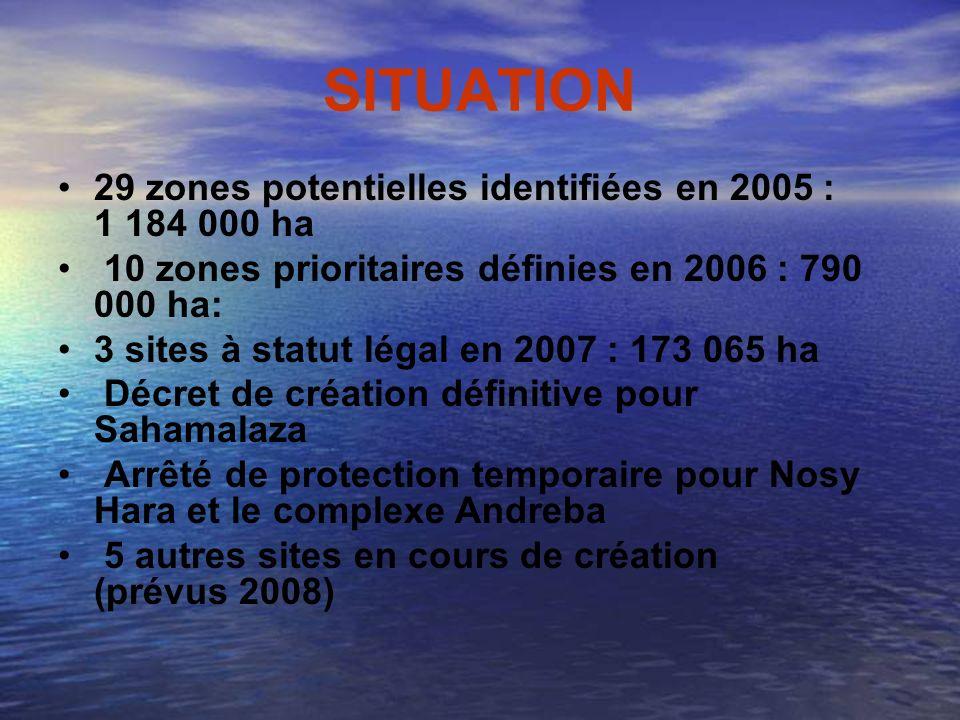 SITUATION 29 zones potentielles identifiées en 2005 : 1 184 000 ha 10 zones prioritaires définies en 2006 : 790 000 ha: 3 sites à statut légal en 2007