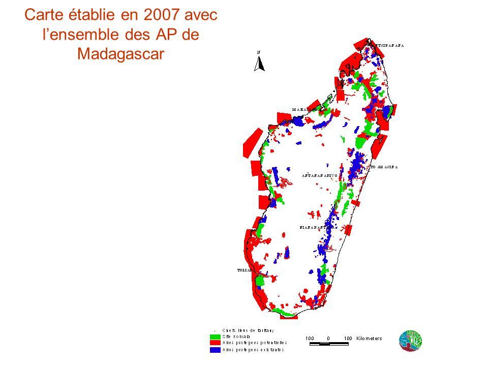 Carte établie en 2007 avec lensemble des AP de Madagascar
