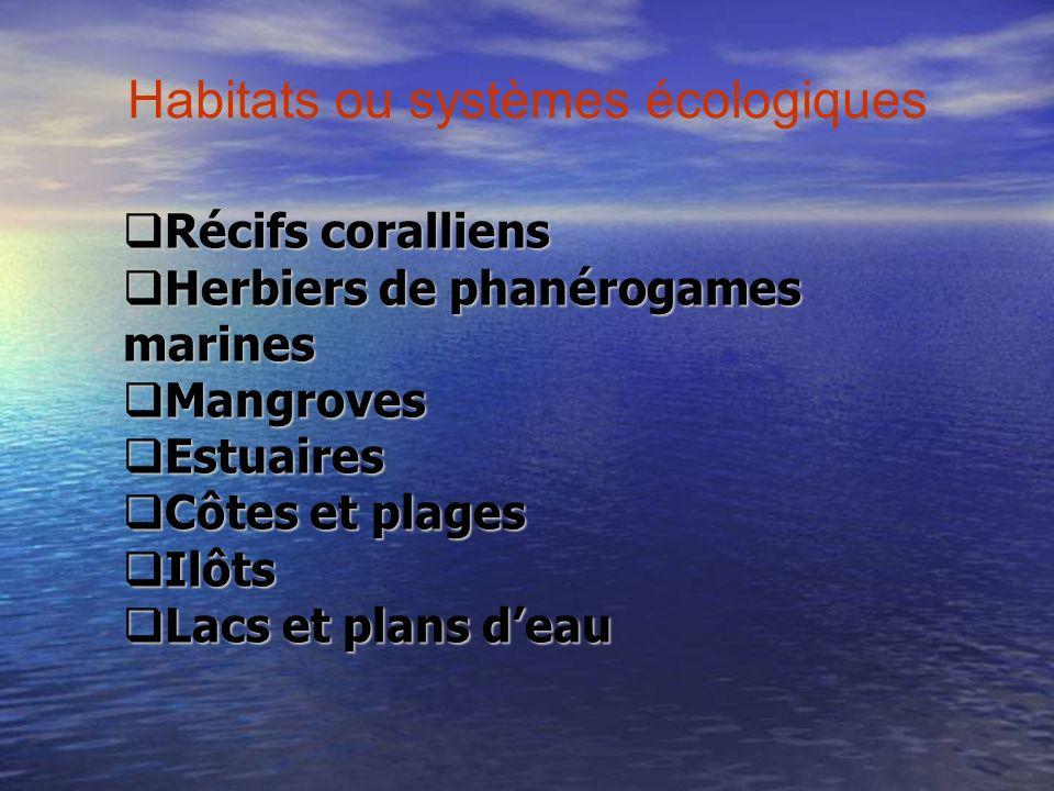 Habitats ou systèmes écologiques Récifs coralliens Récifs coralliens Herbiers de phanérogames marines Herbiers de phanérogames marines Mangroves Mangr