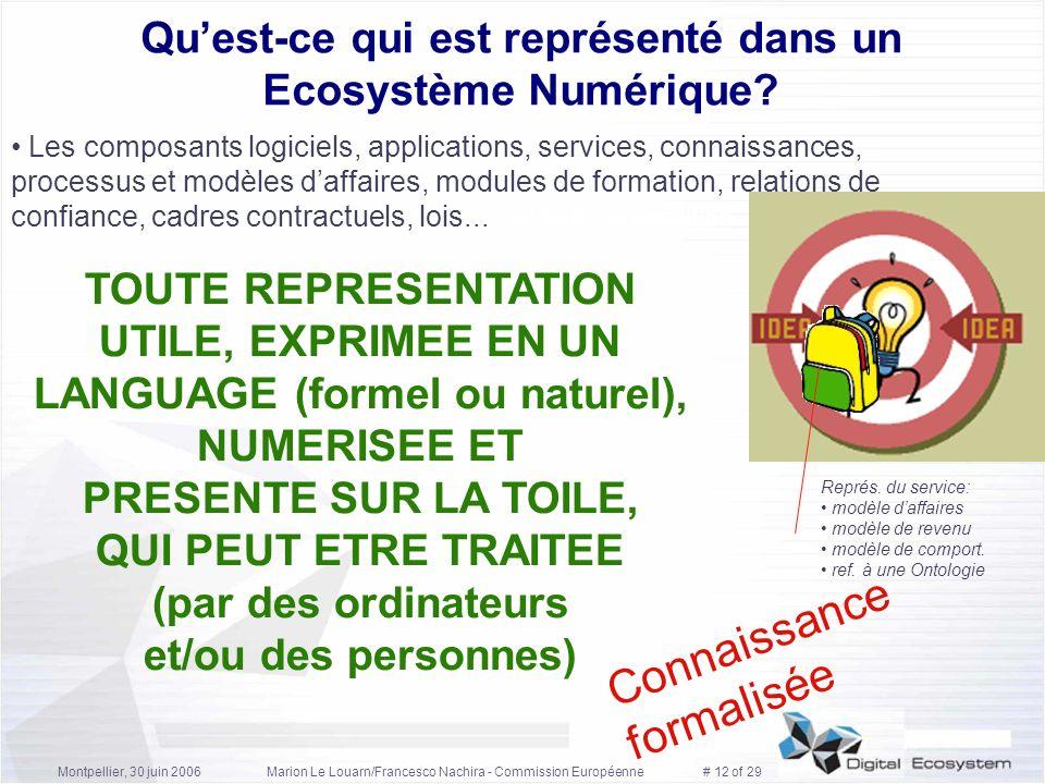 Montpellier, 30 juin 2006Marion Le Louarn/Francesco Nachira - Commission Européenne # 12 of 29 Quest-ce qui est représenté dans un Ecosystème Numériqu