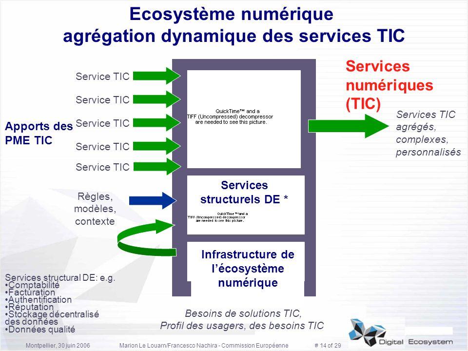 Montpellier, 30 juin 2006Marion Le Louarn/Francesco Nachira - Commission Européenne # 14 of 29 Apports des PME TIC Services numériques (TIC) Ecosystèm