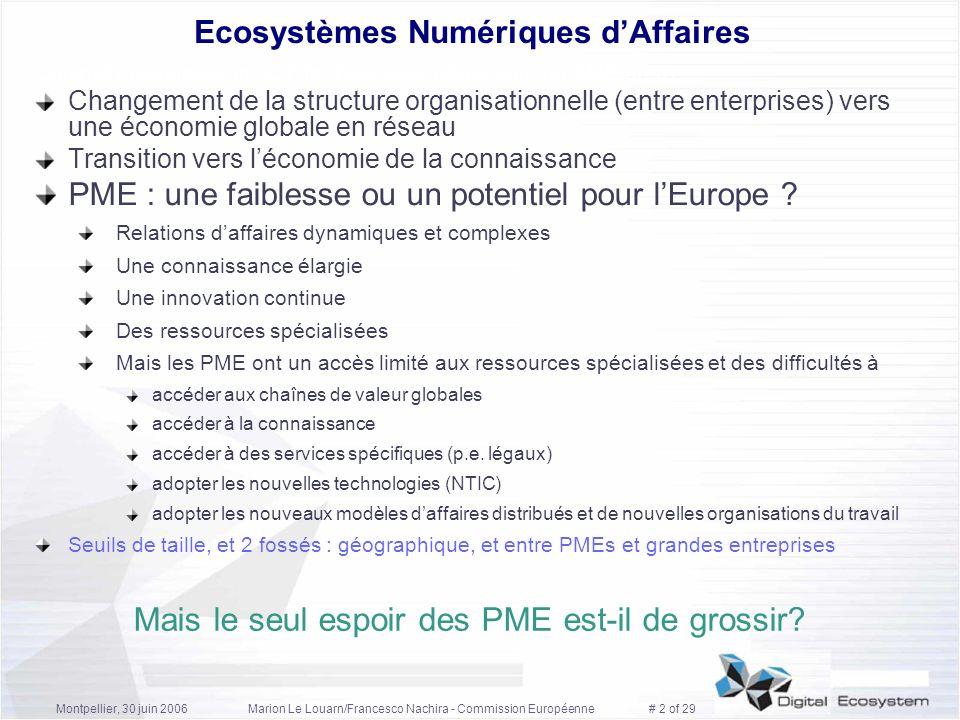 Montpellier, 30 juin 2006Marion Le Louarn/Francesco Nachira - Commission Européenne # 13 of 29 Lécosystème dinnovation Dérivé dun travail de lUniversité Technique de Salzbourg Economie (écosystème daffaires) Couplage Structurel TIC (écosystème numérique) Ecosystème Numérique: environnt o-s, public, distribué, globalisant - transporter, identifier, apparier (services, connaissances) - connaissance intégrée, règles comm., modèles de revenu, ontologie...