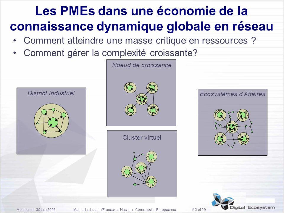 Montpellier, 30 juin 2006Marion Le Louarn/Francesco Nachira - Commission Européenne # 3 of 29 Les PMEs dans une économie de la connaissance dynamique