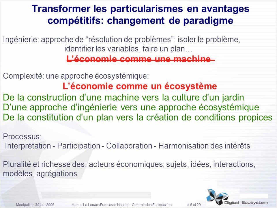 Montpellier, 30 juin 2006Marion Le Louarn/Francesco Nachira - Commission Européenne # 6 of 29 Transformer les particularismes en avantages compétitifs