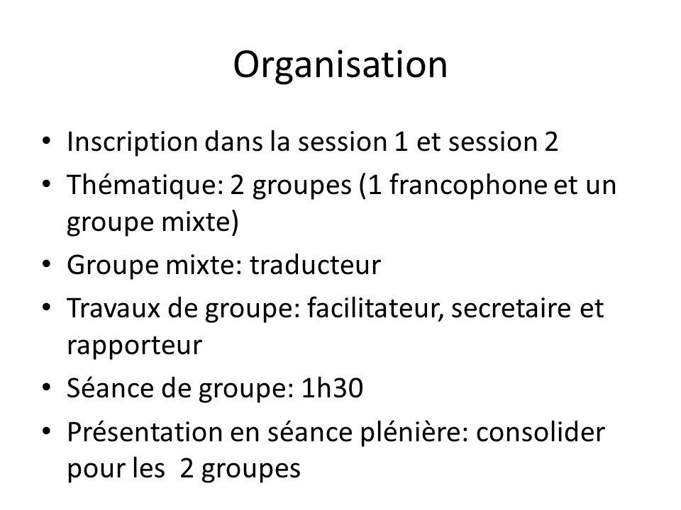 Organisation Inscription dans la session 1 et session 2 Thématique: 2 groupes (1 francophone et un groupe mixte) Groupe mixte: traducteur Travaux de g