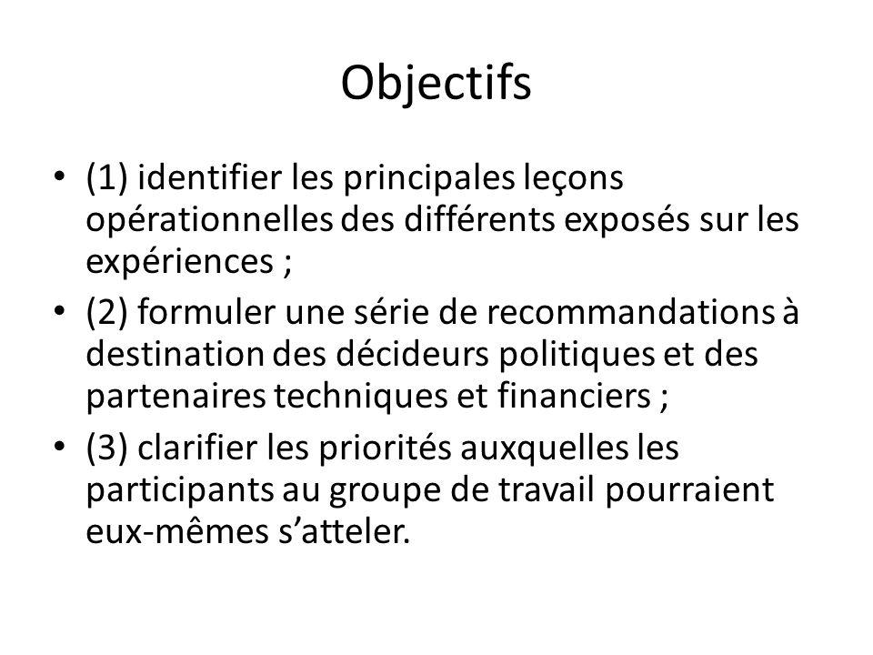 Objectifs (1) identifier les principales leçons opérationnelles des différents exposés sur les expériences ; (2) formuler une série de recommandations