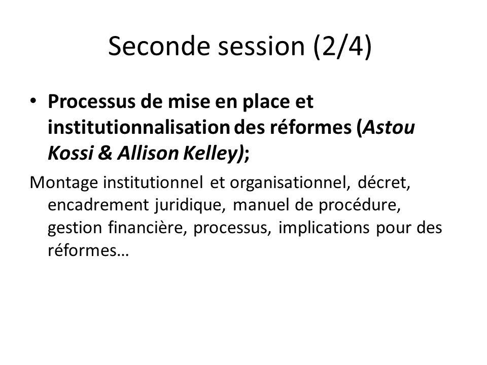 Seconde session (2/4) Processus de mise en place et institutionnalisation des réformes (Astou Kossi & Allison Kelley); Montage institutionnel et organ