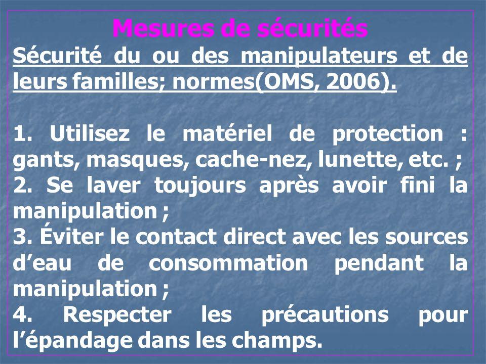 Mesures de sécurités Sécurité du ou des manipulateurs et de leurs familles; normes(OMS, 2006). 1. Utilisez le matériel de protection : gants, masques,