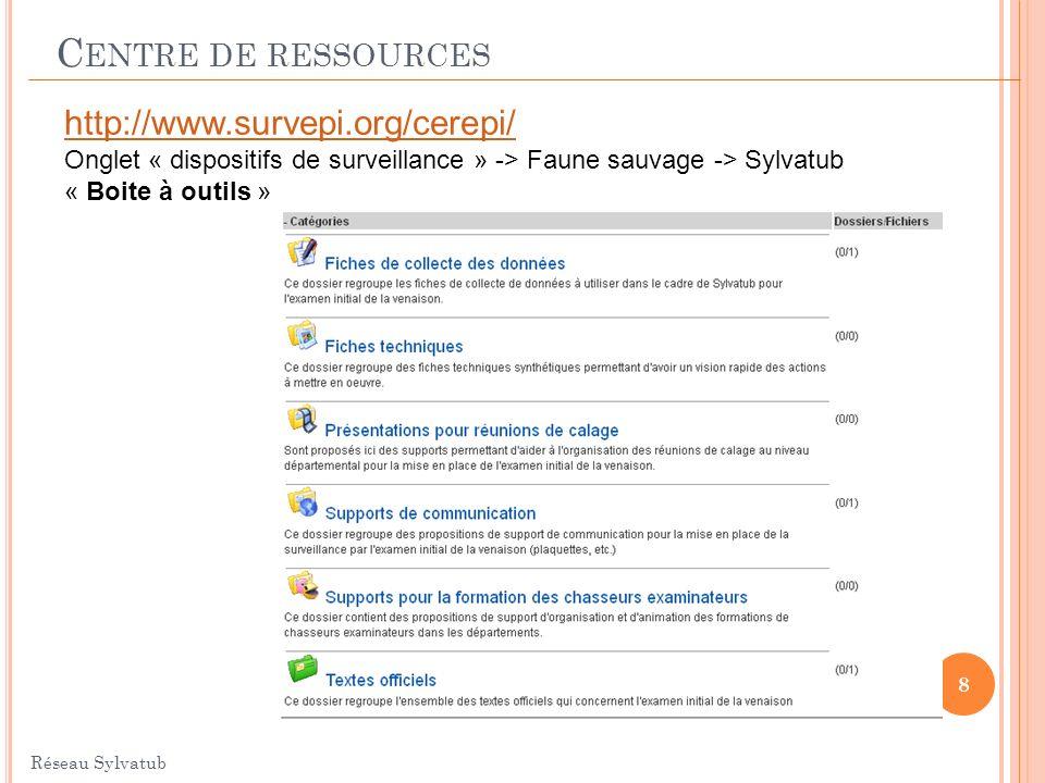 C ENTRE DE RESSOURCES Réseau Sylvatub 8 http://www.survepi.org/cerepi/ Onglet « dispositifs de surveillance » -> Faune sauvage -> Sylvatub « Boite à o