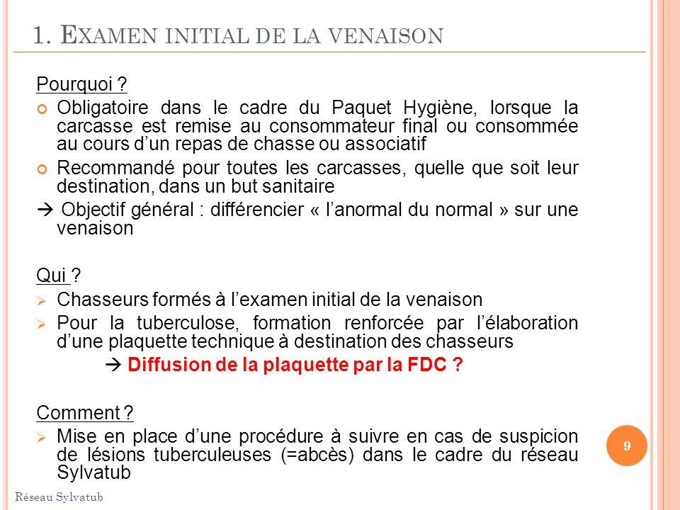 1. E XAMEN INITIAL DE LA VENAISON Pourquoi ? Obligatoire dans le cadre du Paquet Hygiène, lorsque la carcasse est remise au consommateur final ou cons