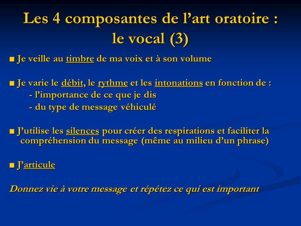 Les 4 composantes de lart oratoire : le vocal (3) Je veille au timbre de ma voix et à son volume Je veille au timbre de ma voix et à son volume Je var